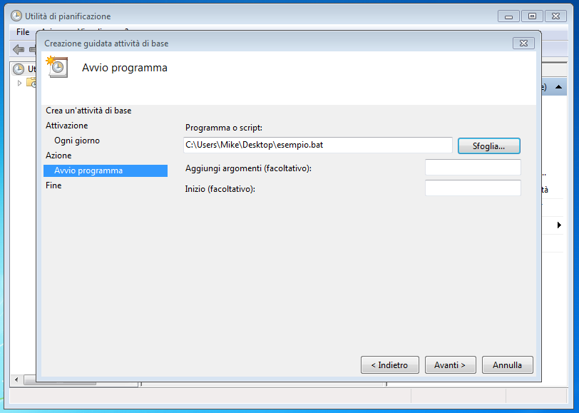 Come aprire un file batch utilizzandoUtilità di pianificazione di windows