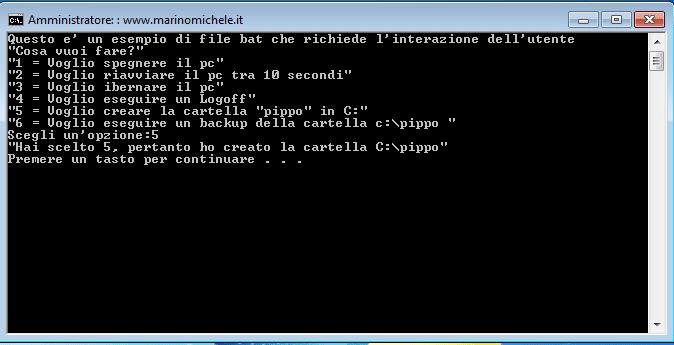 Esempio file batch con input dell'utente