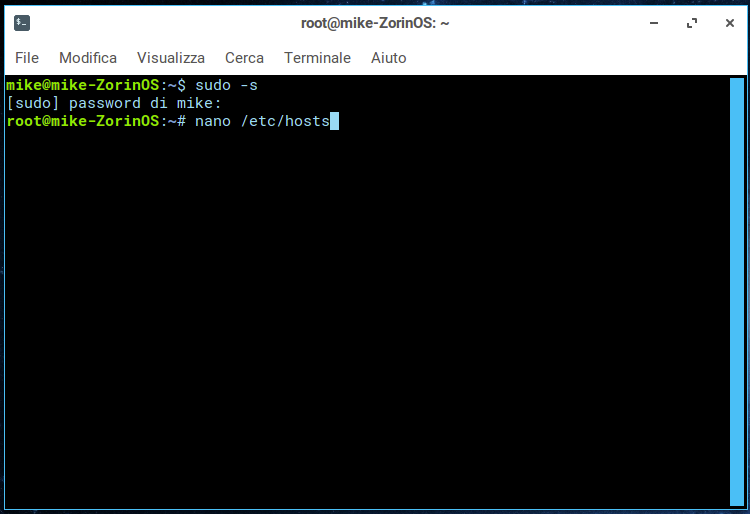 Modificare file hosts su linux