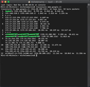 Traceroute su Mac OS X terminale